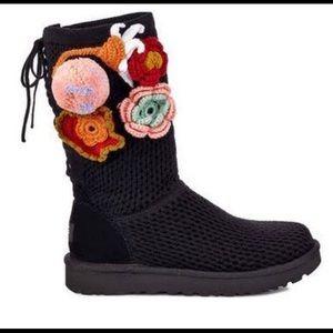UGG black Crochet floral appliqué classic boots